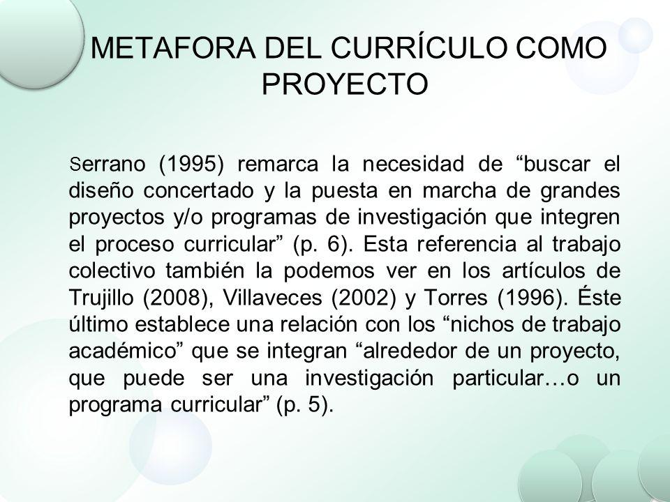 METAFORA DEL CURRÍCULO COMO PROYECTO S errano (1995) remarca la necesidad de buscar el diseño concertado y la puesta en marcha de grandes proyectos y/