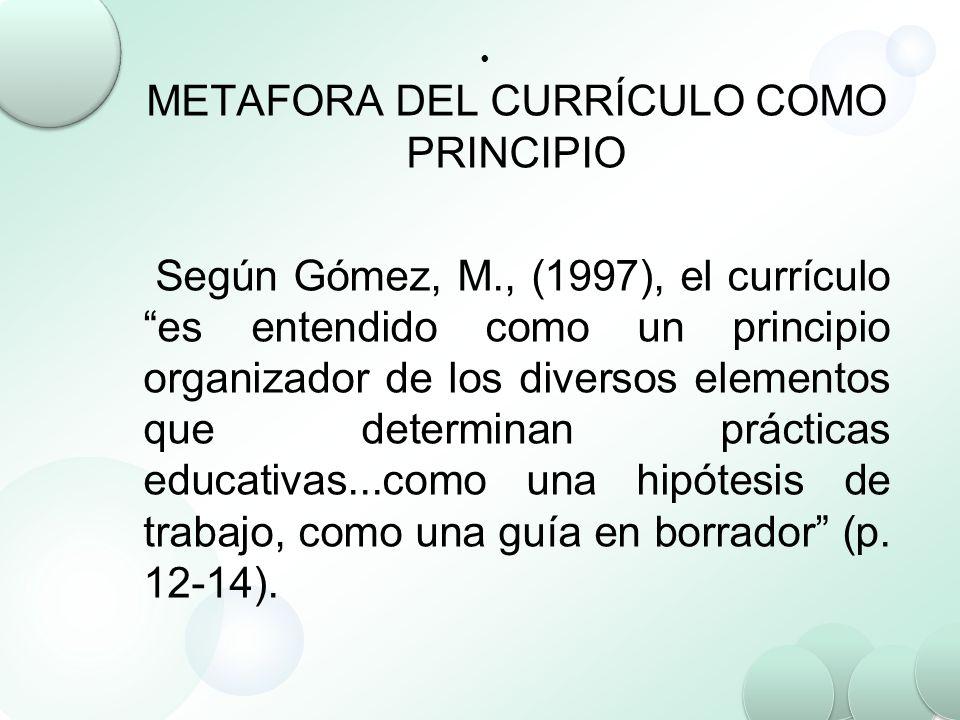 METAFORA DEL CURRÍCULO COMO PRINCIPIO Según Gómez, M., (1997), el currículo es entendido como un principio organizador de los diversos elementos que d