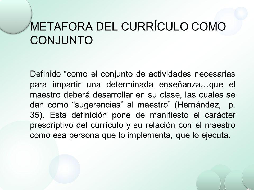 METAFORA DEL CURRÍCULO COMO CONJUNTO Definido como el conjunto de actividades necesarias para impartir una determinada enseñanza…que el maestro deberá
