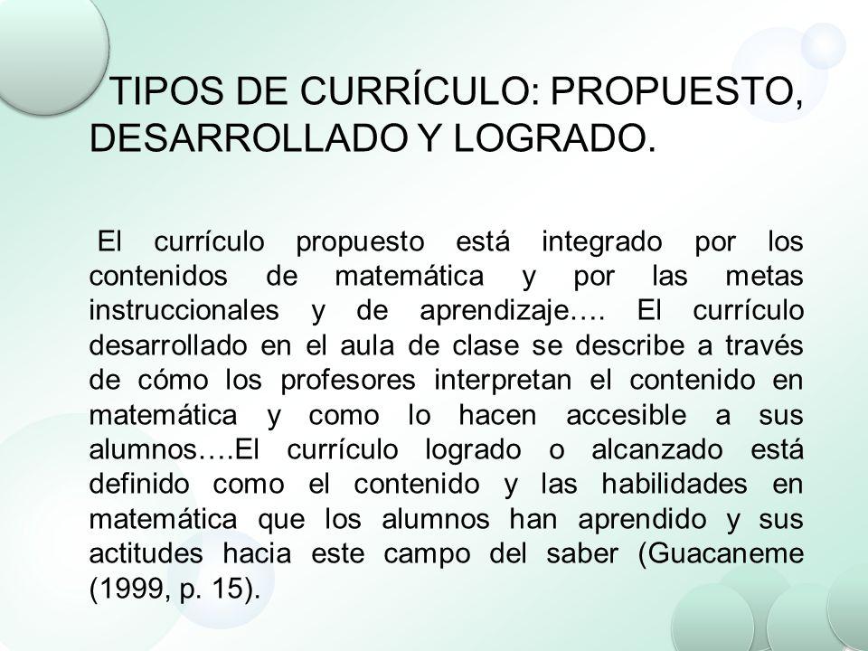 TIPOS DE CURRÍCULO: PROPUESTO, DESARROLLADO Y LOGRADO. El currículo propuesto está integrado por los contenidos de matemática y por las metas instrucc