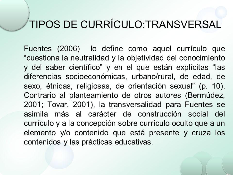 TIPOS DE CURRÍCULO:TRANSVERSAL Fuentes (2006) lo define como aquel currículo que cuestiona la neutralidad y la objetividad del conocimiento y del sabe