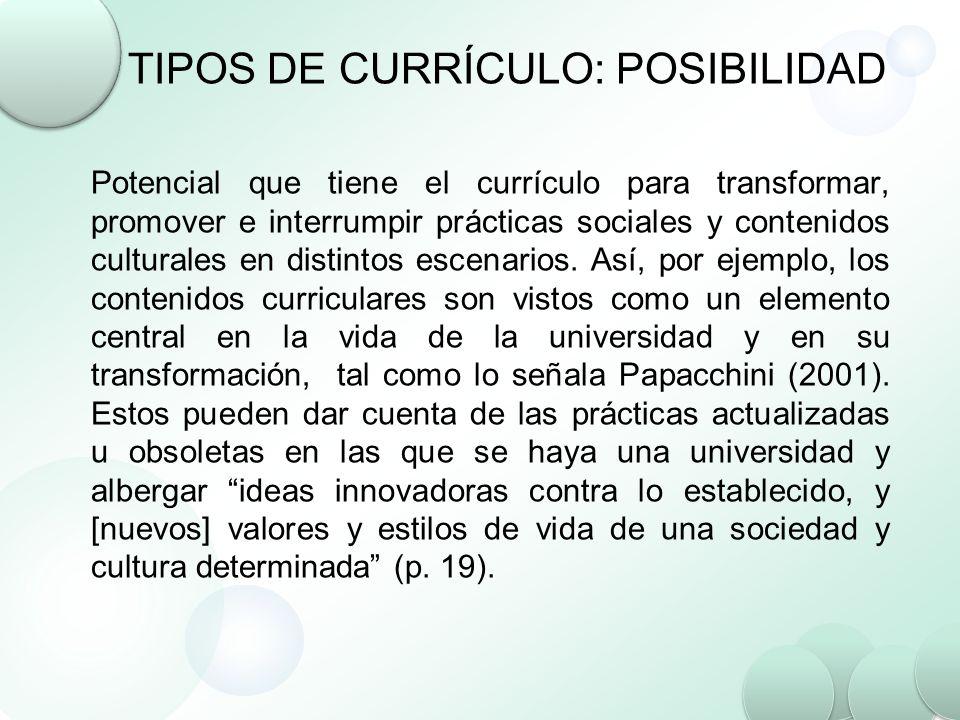 TIPOS DE CURRÍCULO: POSIBILIDAD Potencial que tiene el currículo para transformar, promover e interrumpir prácticas sociales y contenidos culturales e