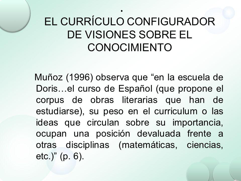 EL CURRÍCULO CONFIGURADOR DE VISIONES SOBRE EL CONOCIMIENTO Muñoz (1996) observa que en la escuela de Doris…el curso de Español (que propone el corpus