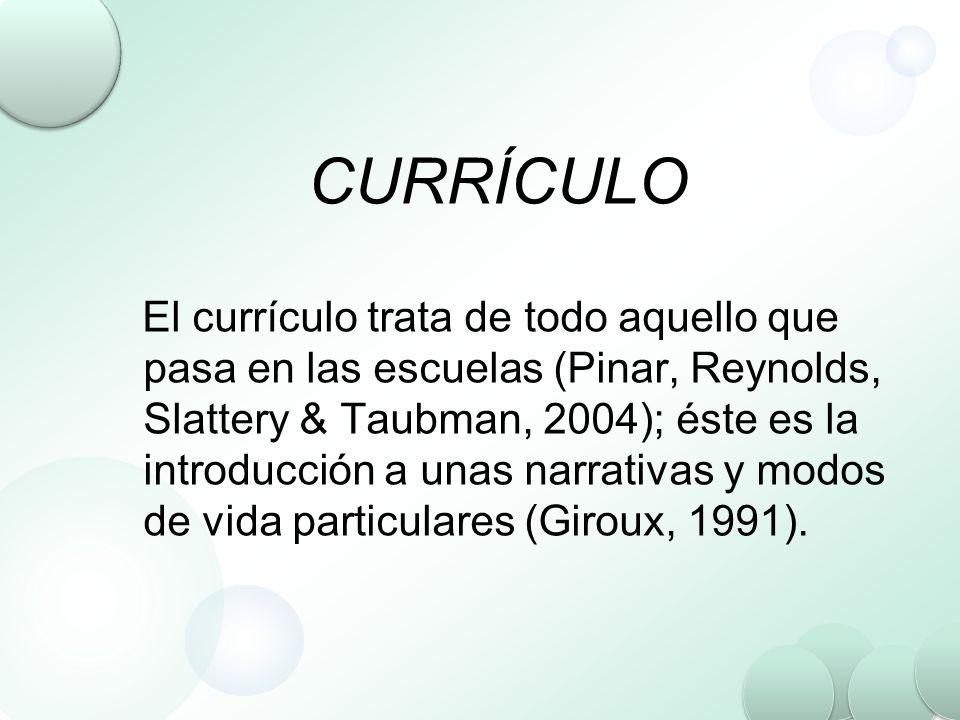 CURRÍCULO El currículo trata de todo aquello que pasa en las escuelas (Pinar, Reynolds, Slattery & Taubman, 2004); éste es la introducción a unas narr