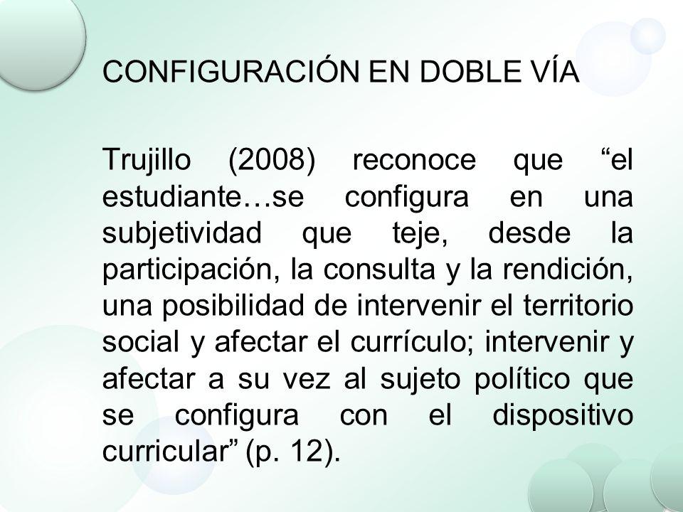 CONFIGURACIÓN EN DOBLE VÍA Trujillo (2008) reconoce que el estudiante…se configura en una subjetividad que teje, desde la participación, la consulta y