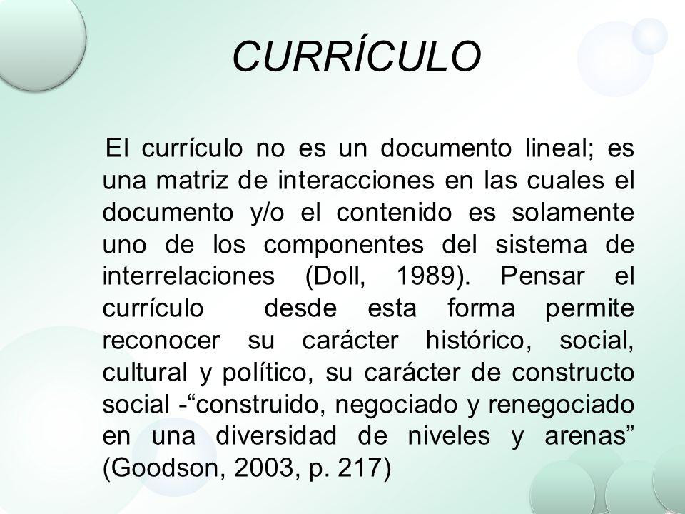 CURRÍCULO El currículo no es un documento lineal; es una matriz de interacciones en las cuales el documento y/o el contenido es solamente uno de los c