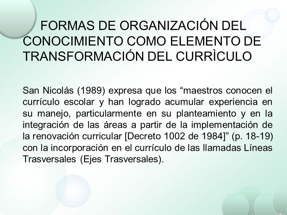 FORMAS DE ORGANIZACIÓN DEL CONOCIMIENTO COMO ELEMENTO DE TRANSFORMACIÓN DEL CURRÌCULO San Nicolás (1989) expresa que los maestros conocen el currículo
