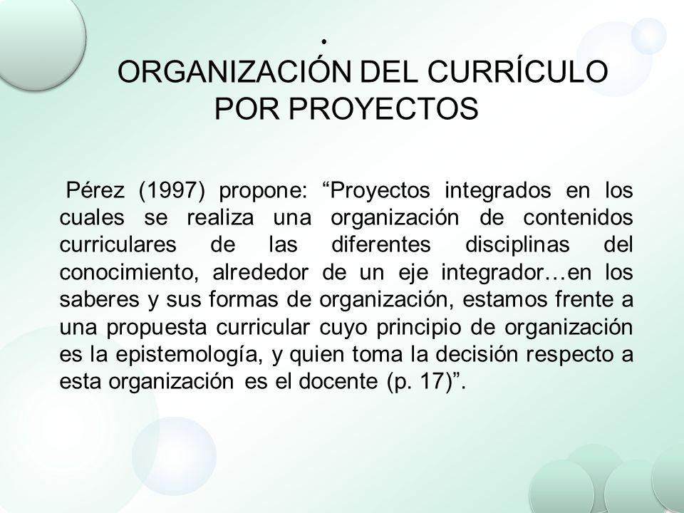 ORGANIZACIÓN DEL CURRÍCULO POR PROYECTOS Pérez (1997) propone: Proyectos integrados en los cuales se realiza una organización de contenidos curricular