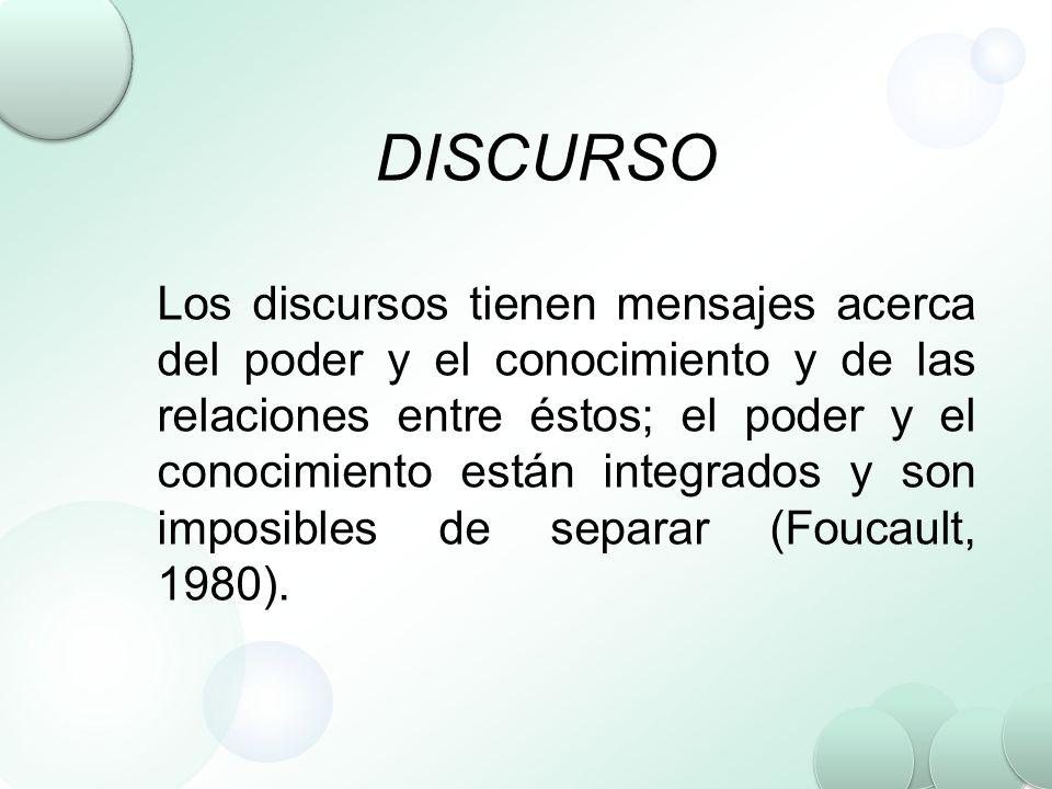 DISCURSO Los discursos tienen mensajes acerca del poder y el conocimiento y de las relaciones entre éstos; el poder y el conocimiento están integrados