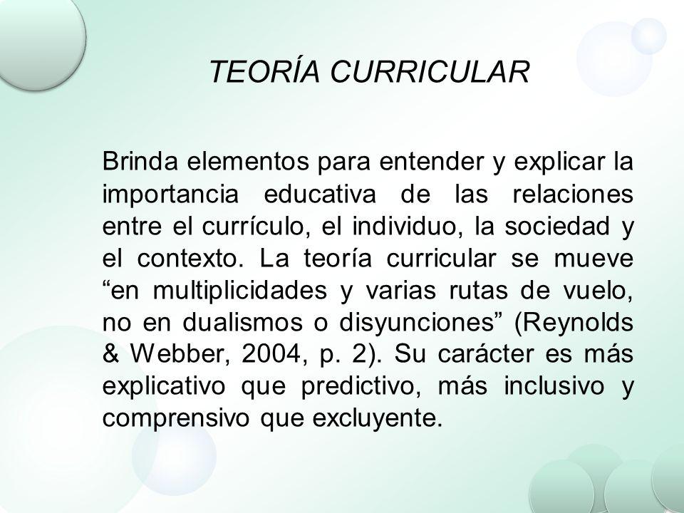 TEORÍA CURRICULAR Brinda elementos para entender y explicar la importancia educativa de las relaciones entre el currículo, el individuo, la sociedad y