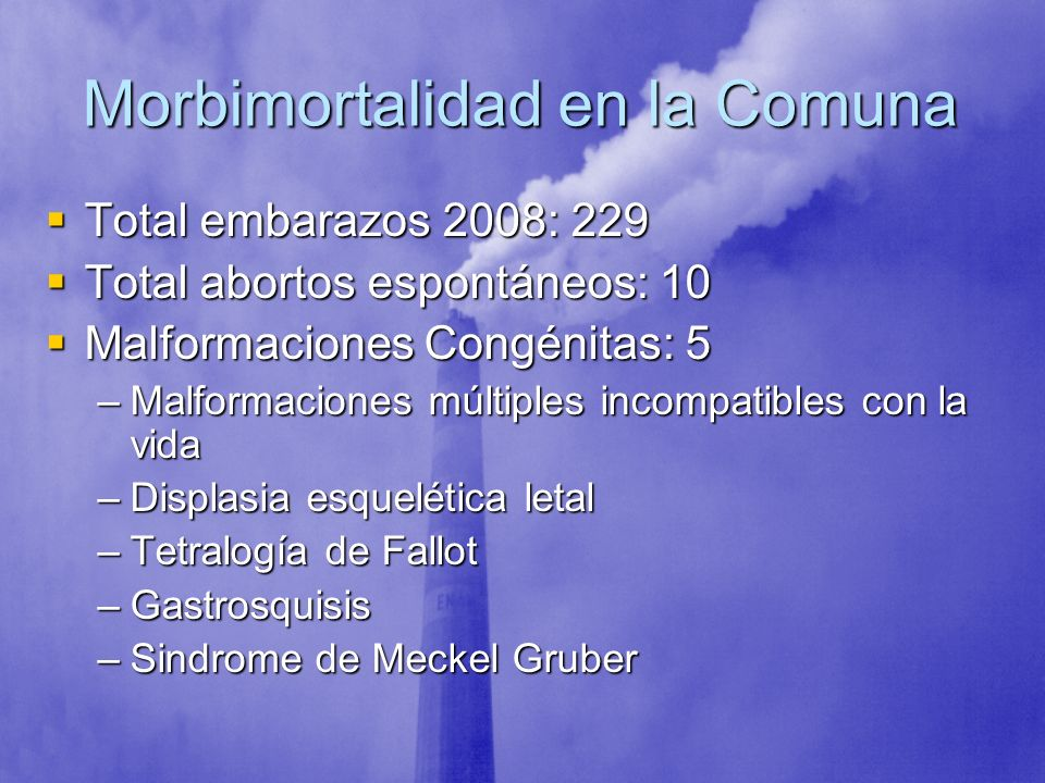 Morbimortalidad en la Comuna Total embarazos 2008: 229 Total embarazos 2008: 229 Total abortos espontáneos: 10 Total abortos espontáneos: 10 Malformac