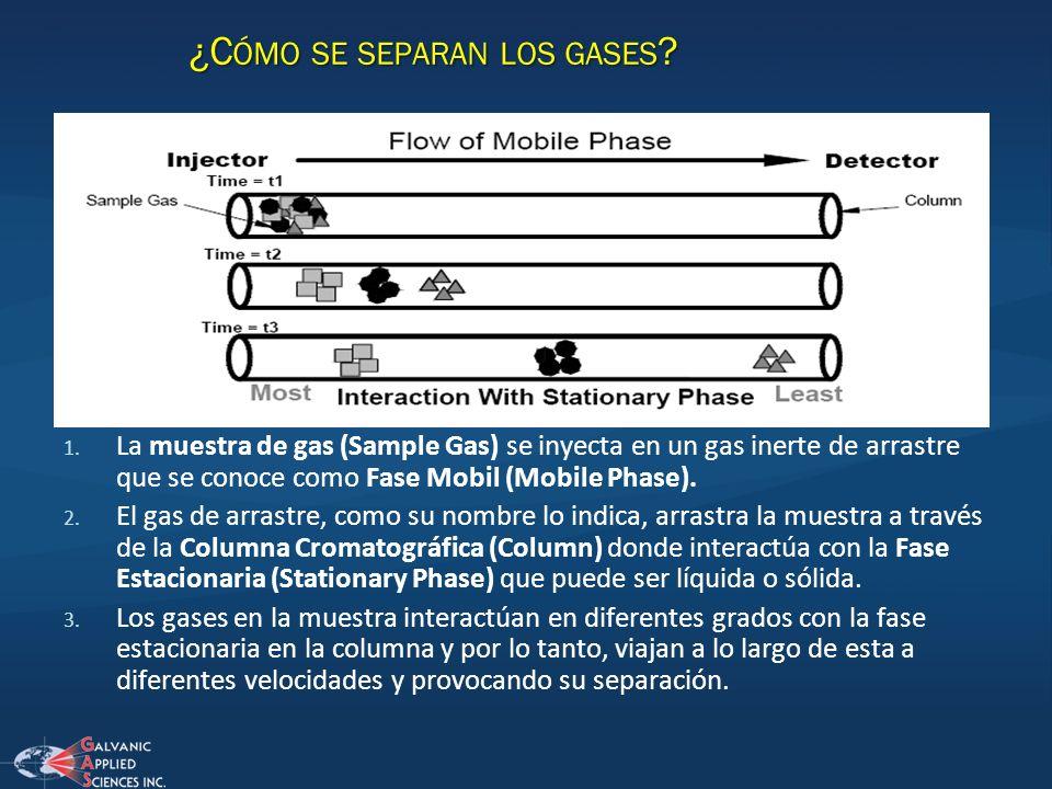 1. La muestra de gas (Sample Gas) se inyecta en un gas inerte de arrastre que se conoce como Fase Mobil (Mobile Phase). 2. El gas de arrastre, como su