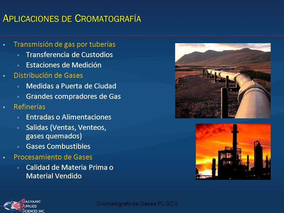 A PLICACIONES DE C ROMATOGRAFÍA Cromatógrafo de Gases PL GC II Transmisión de gas por tuberías Transferencia de Custodios Estaciones de Medición Distr