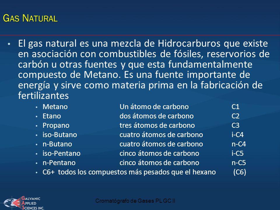 Cromatógrafo de Gases PL GC II G AS N ATURAL El gas natural es una mezcla de Hidrocarburos que existe en asociación con combustibles de fósiles, reser