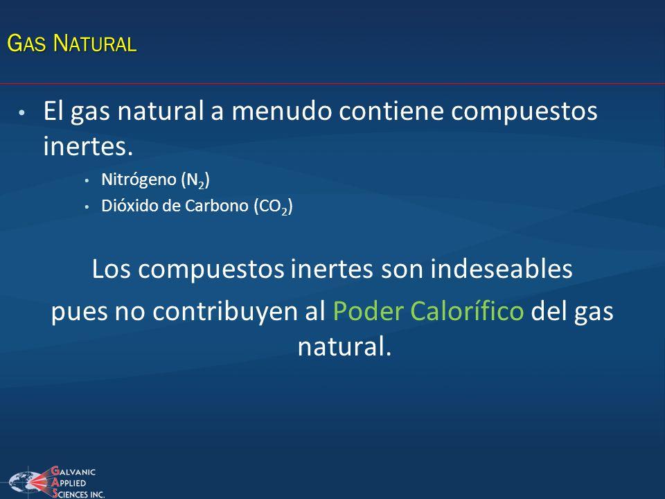 El gas natural a menudo contiene compuestos inertes. Nitrógeno (N 2 ) Dióxido de Carbono (CO 2 ) Los compuestos inertes son indeseables pues no contri