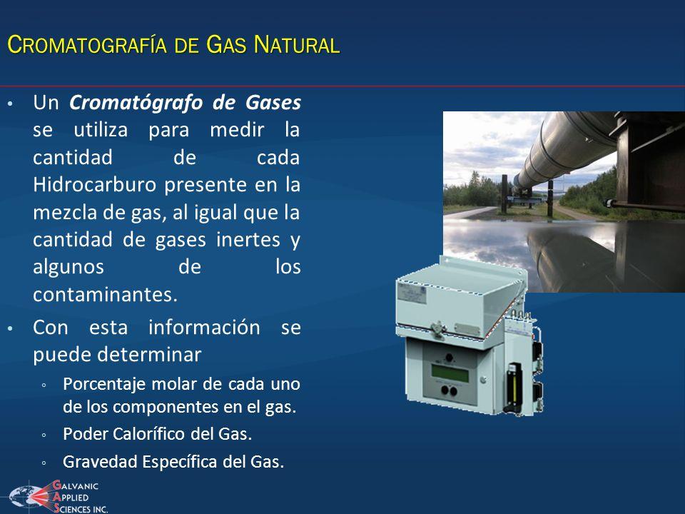 C ROMATOGRAFÍA DE G AS N ATURAL Un Cromatógrafo de Gases se utiliza para medir la cantidad de cada Hidrocarburo presente en la mezcla de gas, al igual