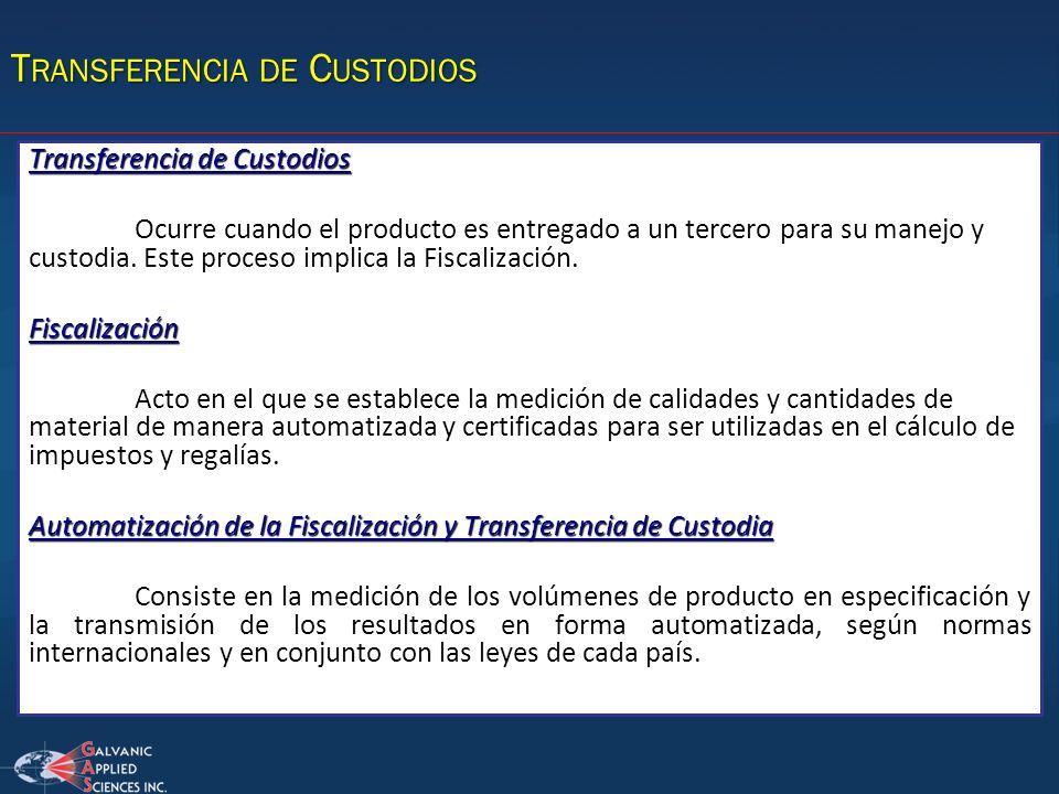 T RANSFERENCIA DE C USTODIOS Transferencia de Custodios Ocurre cuando el producto es entregado a un tercero para su manejo y custodia. Este proceso im