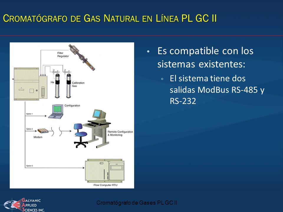 C ROMATÓGRAFO DE G AS N ATURAL EN L ÍNEA PL GC II Es compatible con los sistemas existentes: El sistema tiene dos salidas ModBus RS-485 y RS-232 Croma