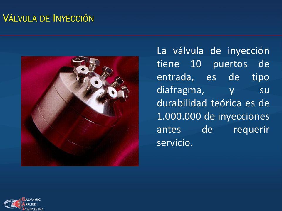 V ÁLVULA DE I NYECCIÓN La válvula de inyección tiene 10 puertos de entrada, es de tipo diafragma, y su durabilidad teórica es de 1.000.000 de inyeccio