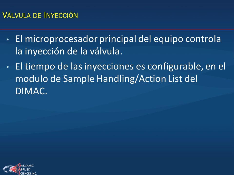 V ÁLVULA DE I NYECCIÓN El microprocesador principal del equipo controla la inyección de la válvula. El tiempo de las inyecciones es configurable, en e