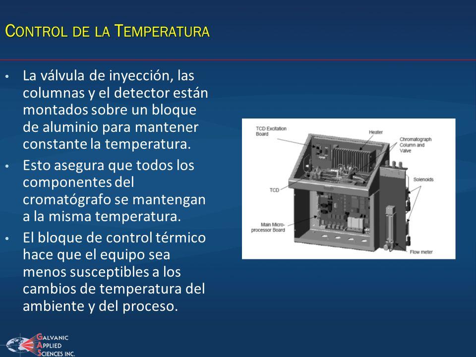C ONTROL DE LA T EMPERATURA La válvula de inyección, las columnas y el detector están montados sobre un bloque de aluminio para mantener constante la