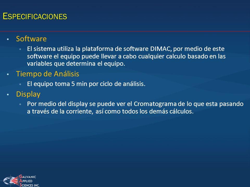 Software El sistema utiliza la plataforma de software DIMAC, por medio de este software el equipo puede llevar a cabo cualquier calculo basado en las