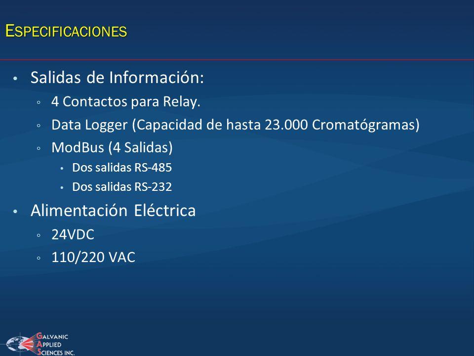 Salidas de Información: 4 Contactos para Relay. Data Logger (Capacidad de hasta 23.000 Cromatógramas) ModBus (4 Salidas) Dos salidas RS-485 Dos salida