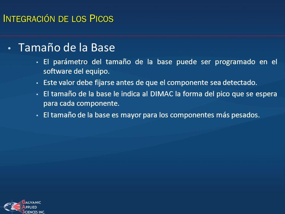 Tamaño de la Base El parámetro del tamaño de la base puede ser programado en el software del equipo. Este valor debe fijarse antes de que el component