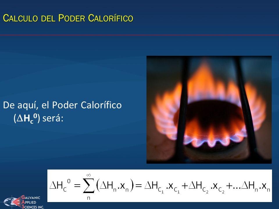 C ALCULO DEL P ODER C ALORÍFICO De aquí, el Poder Calorífico ( H c 0 ) será: