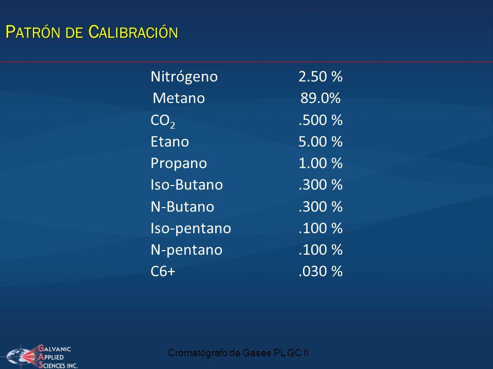 Cromatógrafo de Gases PL GC II Nitrógeno2.50 % Metano89.0% CO 2.500 % Etano5.00 % Propano1.00 % Iso-Butano.300 % N-Butano.300 % Iso-pentano.100 % N-pe