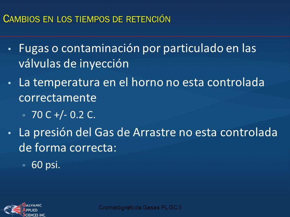 Cromatógrafo de Gases PL GC II Fugas o contaminación por particulado en las válvulas de inyección La temperatura en el horno no esta controlada correc