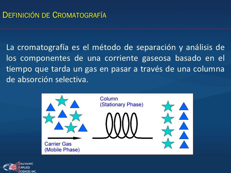 La cromatografía es el método de separación y análisis de los componentes de una corriente gaseosa basado en el tiempo que tarda un gas en pasar a tra