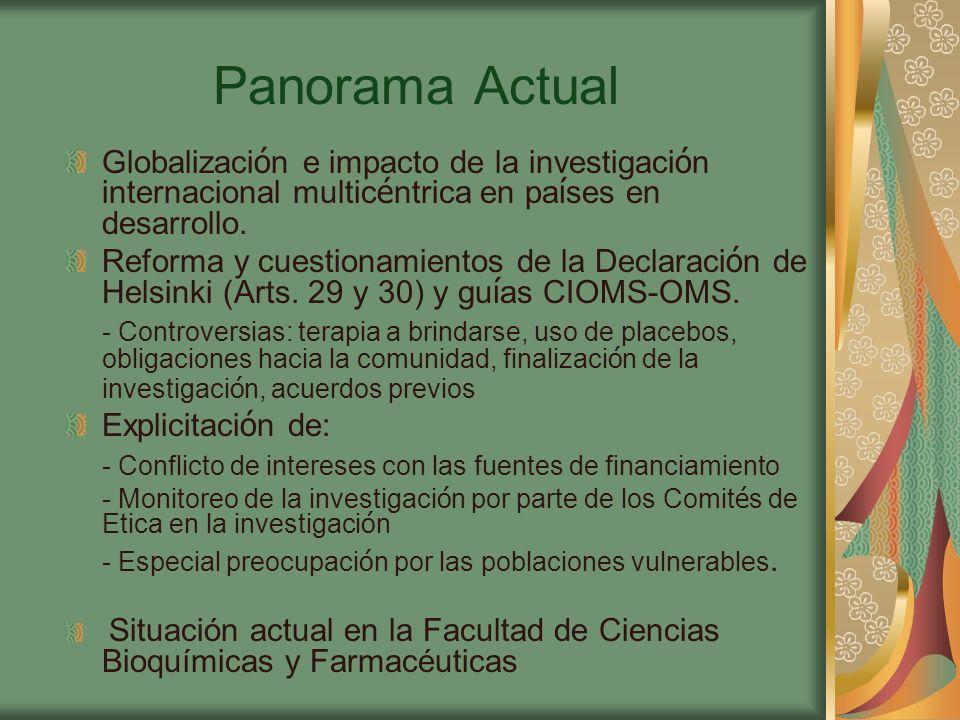 Panorama Actual Globalizaci ó n e impacto de la investigaci ó n internacional multic é ntrica en pa í ses en desarrollo.