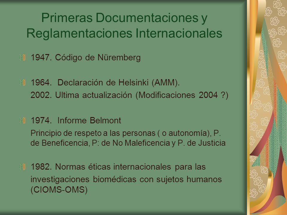 Primeras Documentaciones y Reglamentaciones Internacionales 1947.