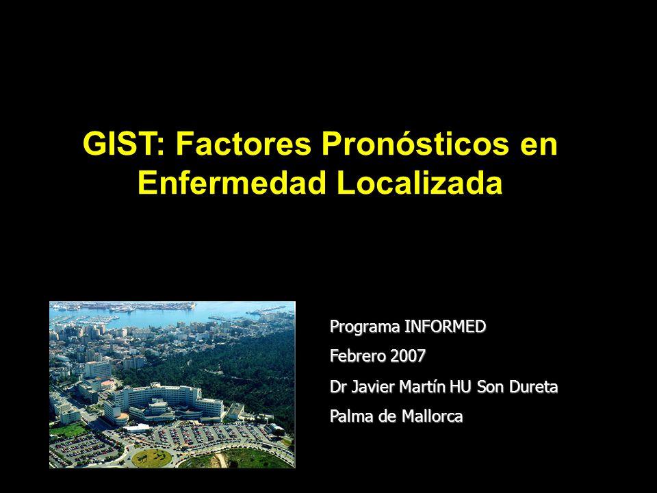 Objetivo Analizar el impacto pronóstico de variables clínico-patológicas y de mutaciones (tipo y posición) para Supervivencia Libre de Enfermedad en pacientes con GIST resecado (R0)