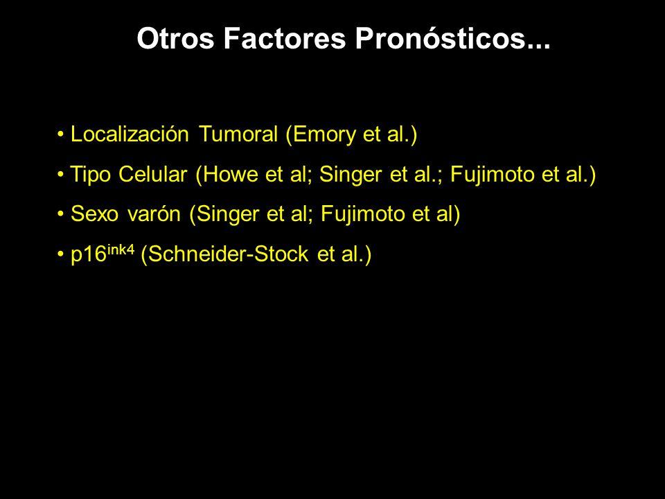 Otros Factores Pronósticos... Localización Tumoral (Emory et al.) Tipo Celular (Howe et al; Singer et al.; Fujimoto et al.) Sexo varón (Singer et al;