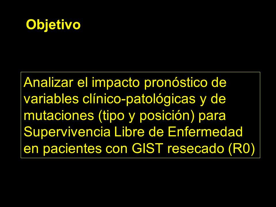 Objetivo Analizar el impacto pronóstico de variables clínico-patológicas y de mutaciones (tipo y posición) para Supervivencia Libre de Enfermedad en p