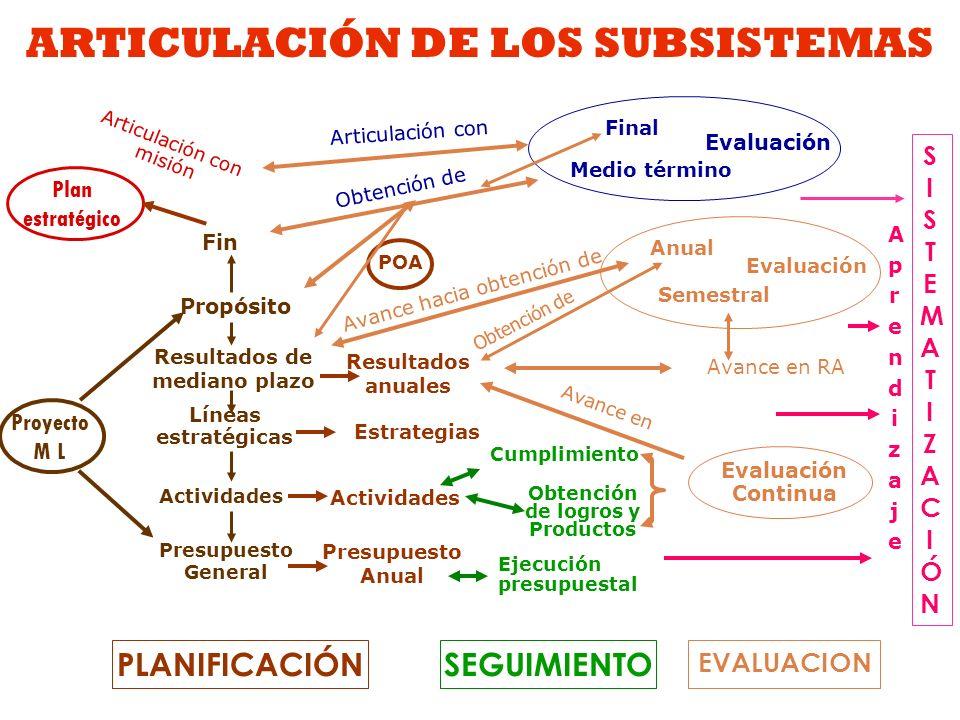 ARTICULACIÓN DE LOS SUBSISTEMAS EVALUACION PLANIFICACIÓN Plan estratégico Articulación con misión POA Resultados anuales Presupuesto Anual Actividades