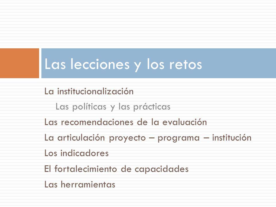 La institucionalización Las políticas y las prácticas Las recomendaciones de la evaluación La articulación proyecto – programa – institución Los indic