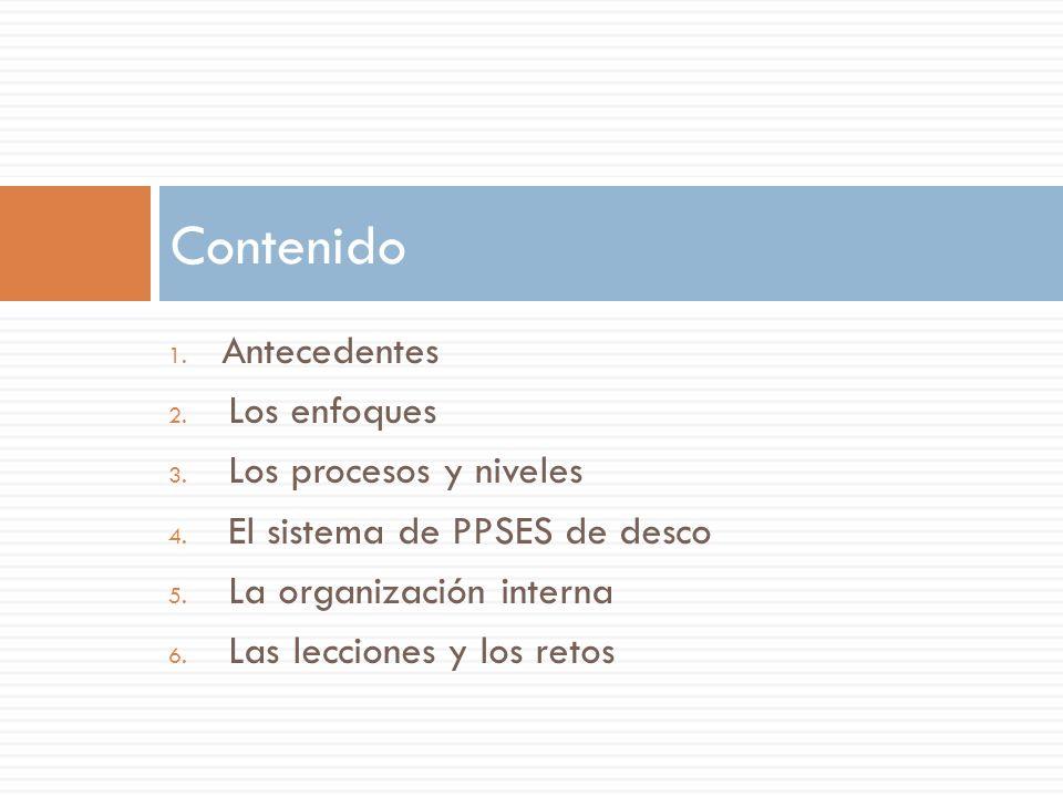 1. Antecedentes 2. Los enfoques 3. Los procesos y niveles 4. El sistema de PPSES de desco 5. La organización interna 6. Las lecciones y los retos Cont