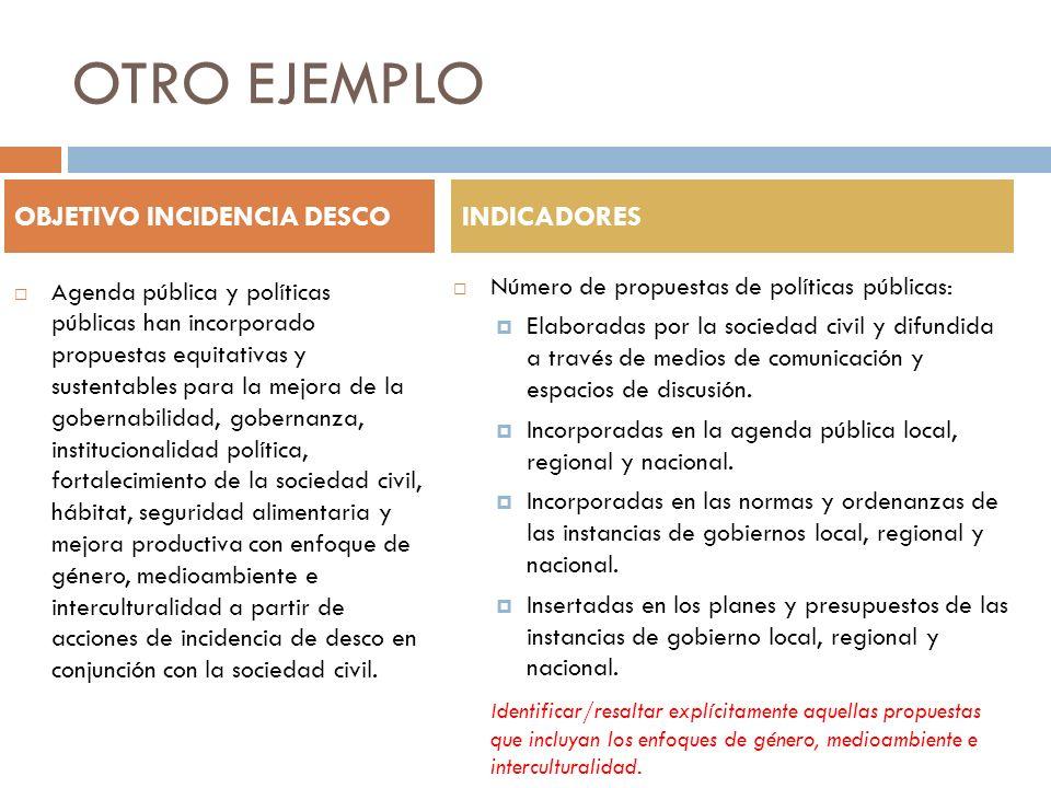 OTRO EJEMPLO Agenda pública y políticas públicas han incorporado propuestas equitativas y sustentables para la mejora de la gobernabilidad, gobernanza