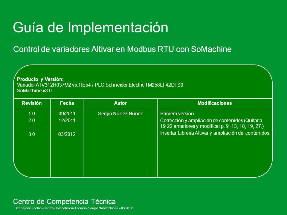Schneider Electric 1 - Centro Competencia Técnica - Sergio Núñez Núñez – 03.2012 Producto y Versión: Variador ATV312H037M2 v5.1IE54 / PLC Schneider El