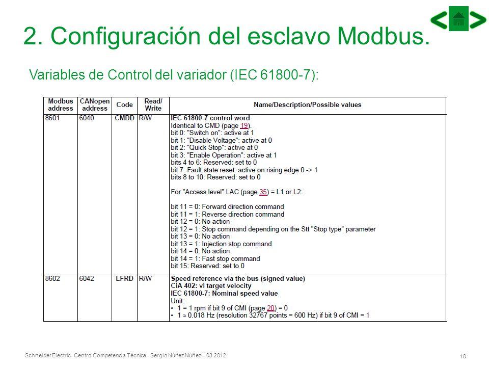 Schneider Electric 10 - Centro Competencia Técnica - Sergio Núñez Núñez – 03.2012 2. Configuración del esclavo Modbus. Variables de Control del variad