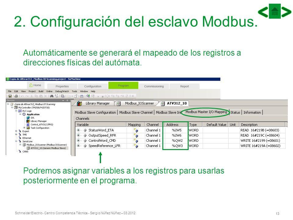 Schneider Electric 13 - Centro Competencia Técnica - Sergio Núñez Núñez – 03.2012 Automáticamente se generará el mapeado de los registros a direccione