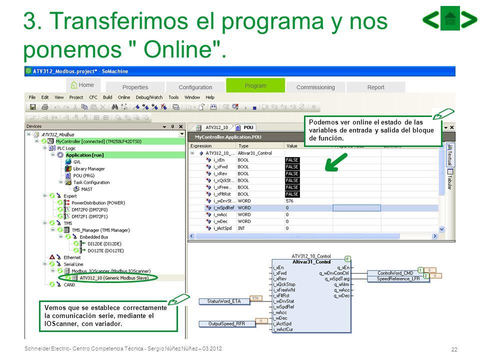 Schneider Electric 22 - Centro Competencia Técnica - Sergio Núñez Núñez – 03.2012 3. Transferimos el programa y nos ponemos