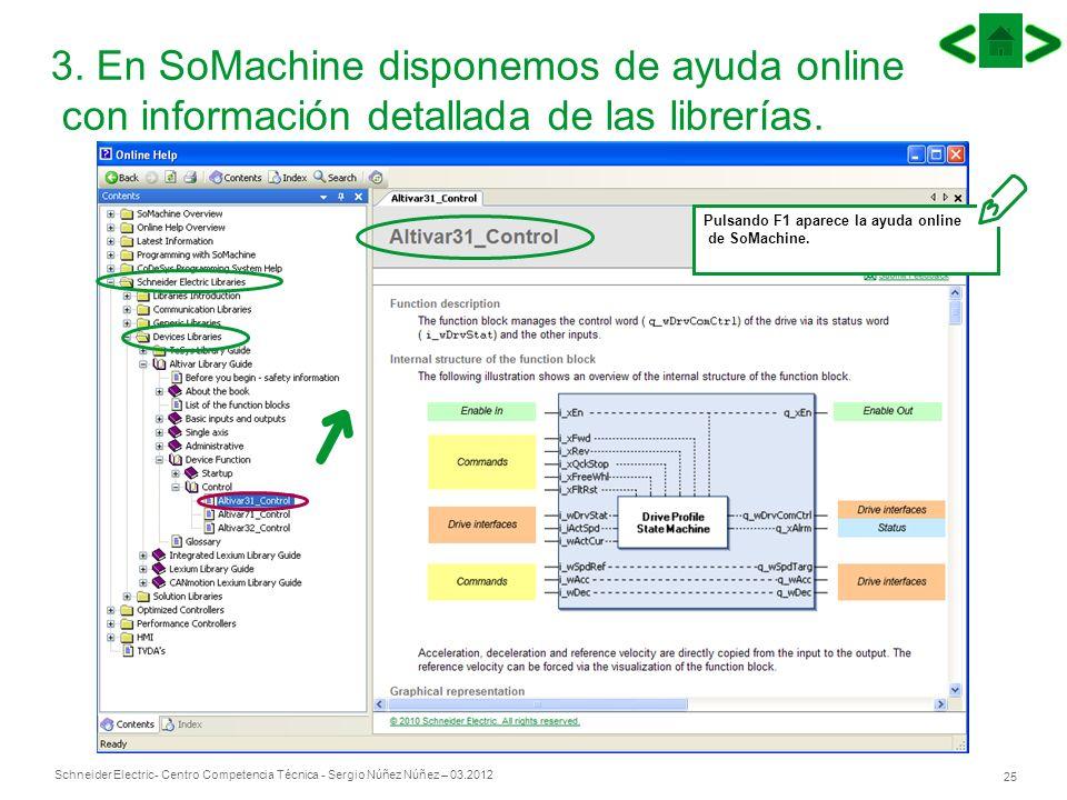 Schneider Electric 25 - Centro Competencia Técnica - Sergio Núñez Núñez – 03.2012 3. En SoMachine disponemos de ayuda online con información detallada