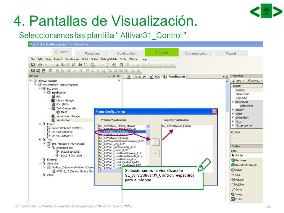 Schneider Electric 28 - Centro Competencia Técnica - Sergio Núñez Núñez – 03.2012 4. Pantallas de Visualización. Seleccionamos las plantilla
