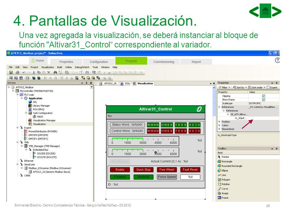 Schneider Electric 29 - Centro Competencia Técnica - Sergio Núñez Núñez – 03.2012 4. Pantallas de Visualización. Una vez agregada la visualización, se