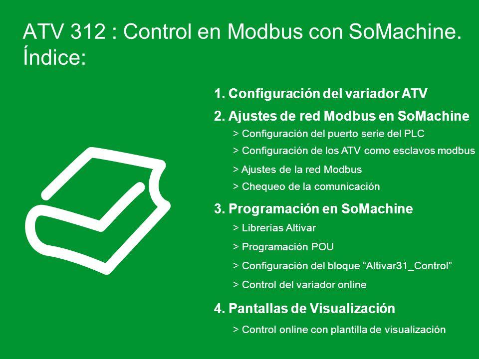 ATV 312 : Control en Modbus con SoMachine. Índice: 1. Configuración del variador ATV > Configuración del puerto serie del PLC > Configuración de los A