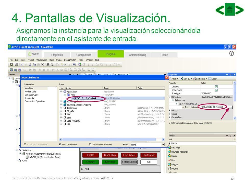 Schneider Electric 30 - Centro Competencia Técnica - Sergio Núñez Núñez – 03.2012 4. Pantallas de Visualización. Asignamos la instancia para la visual